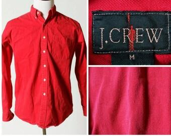 Vintage Men's J Crew Shirt - Retro 90's Red Medium M Button Down Long Sleeve