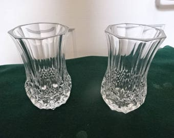 A Lovely Pair of Crystal Cut Glass Posy/Bud Vases/Vintage