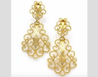 Monet Mid Century 1960s Golden Filigree Stipple Scroll Drop Earrings,