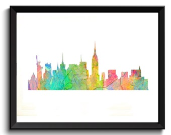 New York Skyline Art, New York Art Print, New York Artwork, NY Art Print, Pastel Rainbow New York Art, NY Watercolor Art, Rainbow City Art,