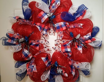 Patriotic  Red, White, and Blue Mesh Wreath