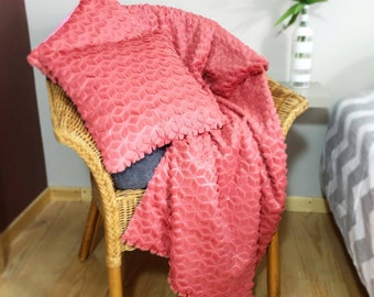 Batch Alessendro Plaid and 2 cushions 40 cm x 40 cm Grenadine Rose/salmon false fur Vegan EC created ' ture