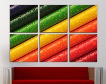 Pencil wall art Pencil wall decor Pencil canvas Rainbow canvas Rainbow wall decor Rainbow Wall Art Large Canvas Print Decor