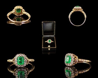 1880s Victorian 18ct Yellow Gold Filigree Ring, .92ct Emerald Cut Emerald, 1.05ct Old Cut Diamonds SI1-2