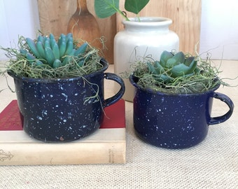 Vintage Blue Enamelware Coffee Mugs - 2 included