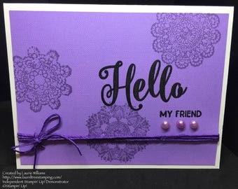 Hello Friend Card, Handmade Card, All Occasion Card, Fancy Handmade Card