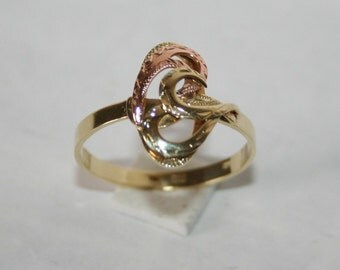 Former magnificent ring yellow gold on gold pink 14 k 585/1000