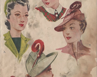 """1942 Vintage Sewing Pattern HAT S22"""" (120) McCall 946"""