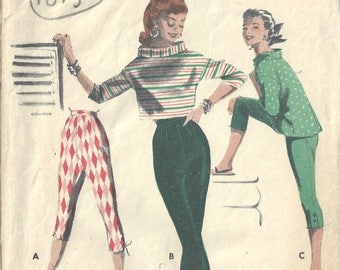 1955 Vintage Sewing Pattern B32 W26 PANTS & BOXY TOPS (1819) By Butterick 7557