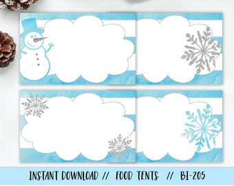 Boy Onederland Food Tent, Snowflake Food Label, Snowman Food Label, Snowflake Food Tent, Onederland Birthday Food Tent, Winter Food Label
