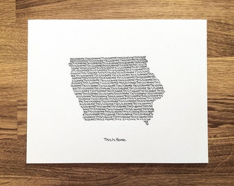 Iowa Print - 8x10, Hand Drawn, Art Print, Wall Art, Home State Decoration, Gift for Him, Gift for Her, State Pride, Word Art