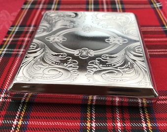 New And Taboo....Beautiful Silver Cigarette Case That's Engraved On Both Sides