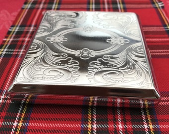 A New And Taboo....Beautiful Silver Cigarette Case That's Engraved On Both Sides