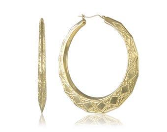 10K Yellow Gold Octagon Door Knocker Hoop Earrings - Round Etched