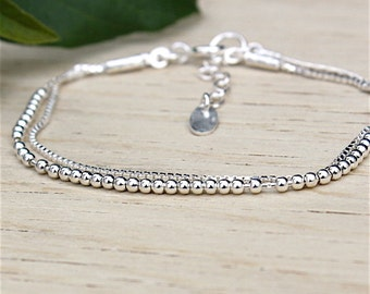 massive silver bracelet double chains beads