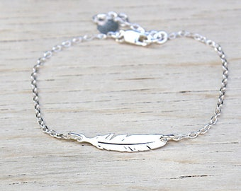 Feather Silver 925 on chain bracelet 925 Silver