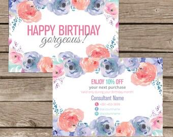 Printable Happy Birthday PosstCard, Birthday Coupon, Promotion Card, post card Digital File LLR002