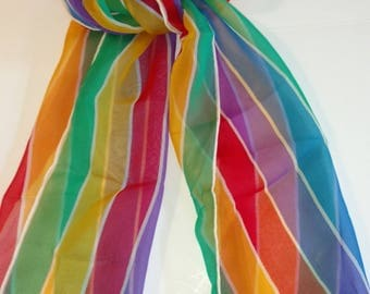 Vintage Rainbow Striped Scarf with Rolled Hem