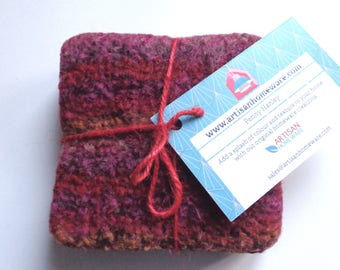 Rich red felted coasters - Set of four