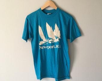 Vintage 80s Newport, RI T-shirt | Deadstock | M
