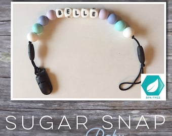 Pacifier clip with name - personalized pacifier chain - Silicone teething - teether - silicone beads