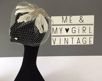 Feather And Sparkle Birdcage veil, Birdcage Veil, 30's Headpiece, Diamonte Birdcage, Wedding Headpiece, Wedding Birdcage Veil, Birdcage