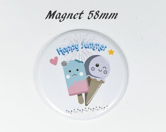 Round magnet ice kawaii happy summer 58 mm