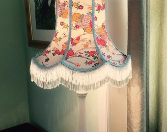 A Victorian lampshade/Empire style/ standard lamp/ fringing/ kimono silk/ butterflies/ flowers/ pale blue/ handmade/ hand beaded/beaded