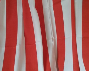 Orange and white shower curtain, orange stripe, shower curtain, orange and white, stripe, bathroom decor, 73x72, cotton, home decor, shower
