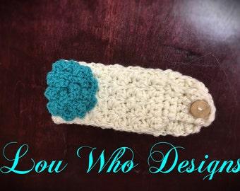 Ear warmer, winter headband, crochet ear warmer,  crochet winter headband, ear warmer with flower  winter headband with flower, crochet