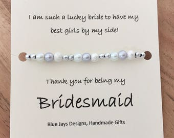 Bridesmaid Gift, Gift For Bridesmaid, Bridesmaid Bracelet, Maid Of Honor Gift, Bridesmaid Jewellery, Thank you gift
