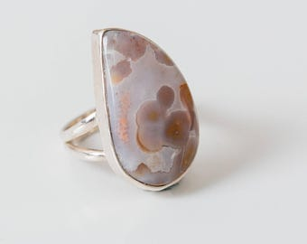 All Natural Ocean Jasper • solid sterling SILVER • Graphic / Orbicular • Ring • Size 9