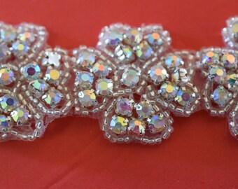 """Crystal AB Rhinestone Trim by the Yard-Wholesale Silver Bridal Trim- rhinestone banding-1 """" Crystal Trim -Rhinestone Applique"""