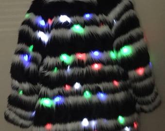 Black/white Striped Fur LED Coat