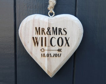 Personalised Wooden Heart - Mr and Mrs Wooden Heart - Hanging Chunky Wooden Heart  - Weddings - Wooden Anniversary Gifts