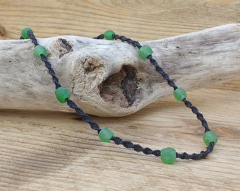 Men's Eco-friendly Necklace made up of Black Hemp & Green Fair Trade Recycled Glass Beads. Sustainable, Recycled, Ethical. Surf, Beach Boho.