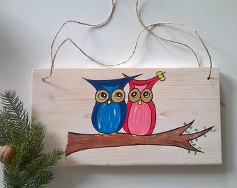 Owls on wood, acrylic, hand painted, wooden sign