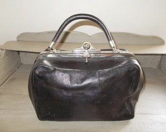 Authentic Vintage French Black Gladstone Bag Doctor's Bag with fantastic soft leather interior interesting catches, very good condition