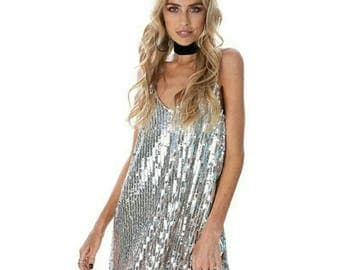 Sequined Silver Party Dress