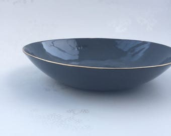 Gold Rimmed Black Porcelain Bowl. Contemporary Ceramic Bowl. Modern, Minimalist Dining. Handmade Pasta Bowl. FebbieDay Ceramics.