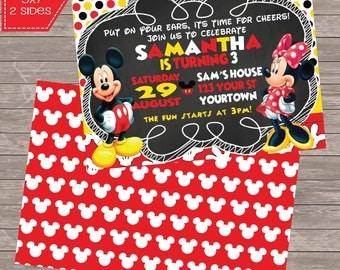 Classic Mickey Mouse Minnie Mouse polka dot Birthday digital 5x7  invitation Printable Mickey and Minnie party Chalkboard invite