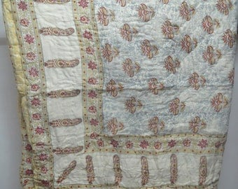 Queen Size Hand Block print Kantha Quilt, Vintage Cotton Filling Blanket, Cotton Filling 2 layer Block Print Bed Cover Throw