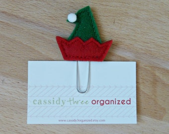 Elf hat planner clip, Elf Hat, planner clip, organizer clip, calendar accessory, stocking stuffer, Christmas planner clip