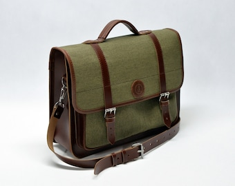 Canvas and leather bicycle bag, bicycle pannier, bicycle shoulder bag, bicycle briefcase, bike pannier, gifts for cyclists, canvas pannier