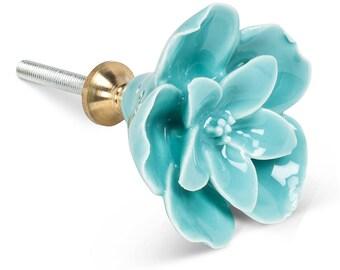 Sculpted Mint Flower Knob, Flower Drawer Pull, Decorative Ceramic Flower Knob, Farmhouse Decor