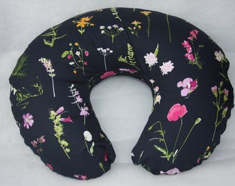 Boppy Pillow Cover-  Petal Picking Dense With Minky Underside