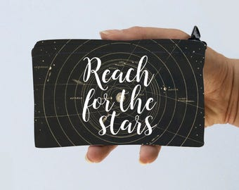 Constellations Little Zipper Pouch - Reach for the Stars Astronomy Stars Coin Purse - Gadget Case Padded
