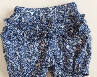 "Eddie & Bee cotton lawn Ruffle bum bloomers in blue ""woodland friends"" print"