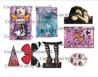 Altered Deck Art Journal Collage Printable - Mixed Media - Ephemera
