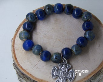 B1244 Large Blue Grey Ceramic Beaded Bracelet with religious metal.